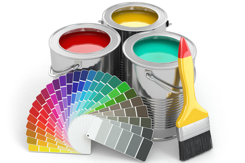 Photo of 3 paint cans with paintbrush
